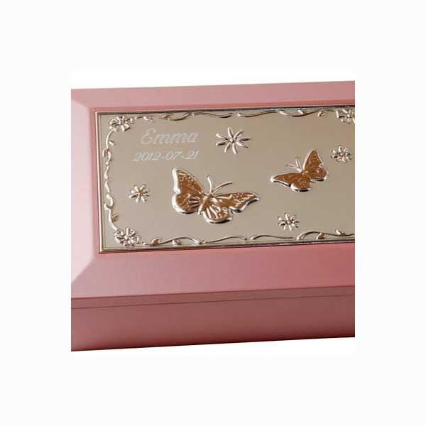 Smyckesskrin Rosa Trä med exempelgravyr