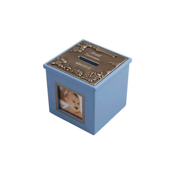 Blå sparbössa med exempelgravyr blå